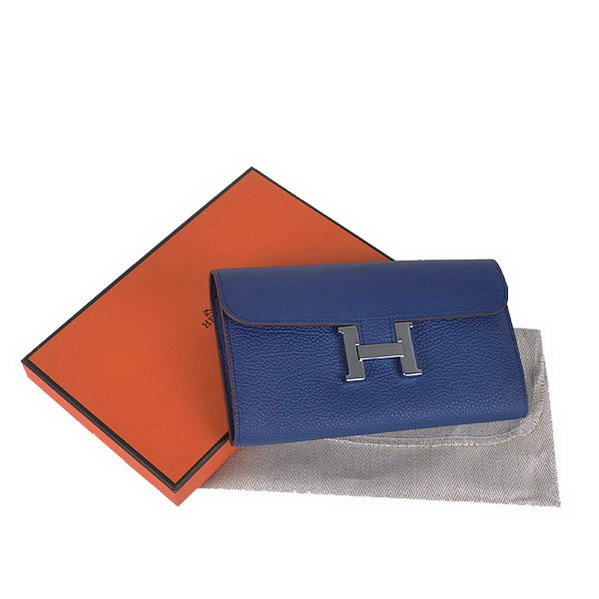 Cheap Fake Hot products Hermes Constance Long Wallets Royalblue Calfskin Le