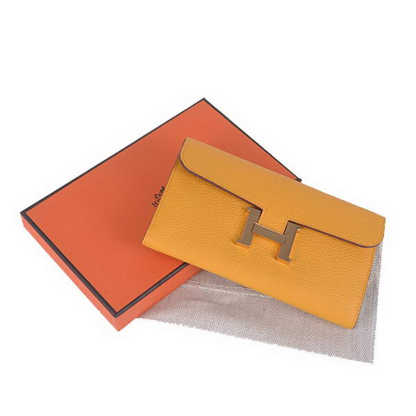 Cheap Fake Hermes Constance Long Wallets Yellow Calfskin Leather Gold