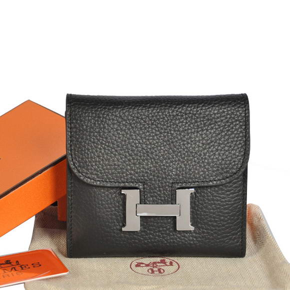 Cheap Fake Hermes Constance Wallets Togo Leather A608 Black