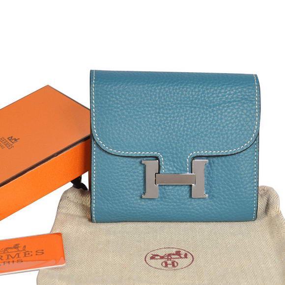 Cheap Fake Hermes Constance Togo Leather Wallets A608 Blue