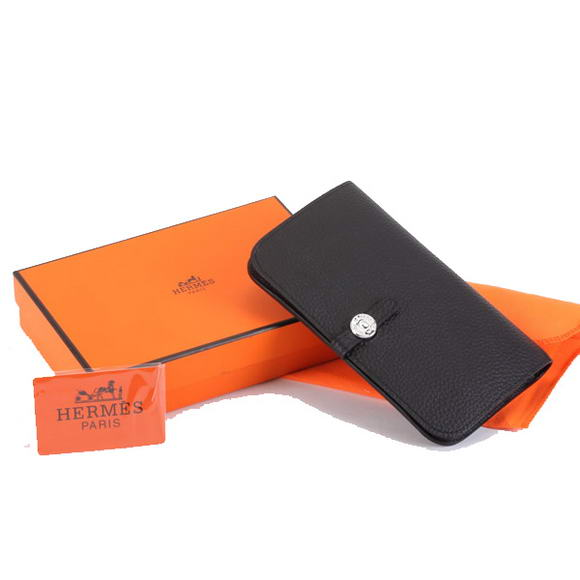 1:1 Quality Hermes Dogon Combined Wallets A508 Black Replica