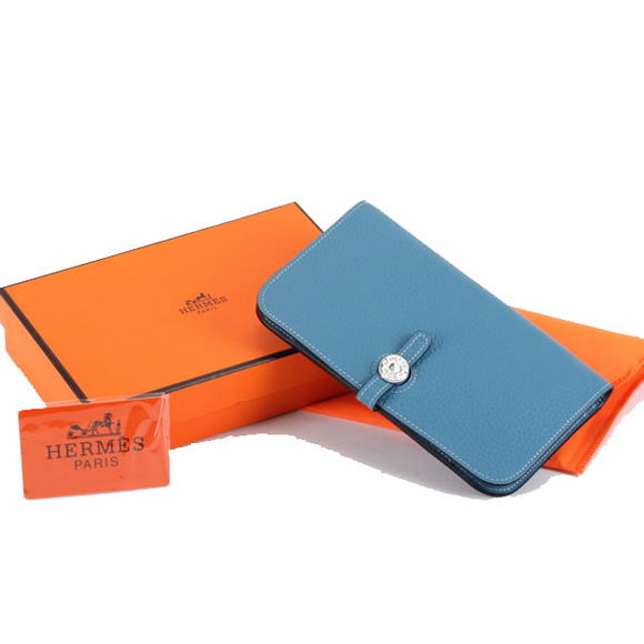 1:1 Quality Hermes Dogon Combined Wallets A508 Blue Replica
