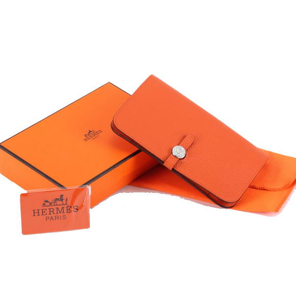 1:1 Quality Hermes Dogon Combined Wallets A508 Orange Replica