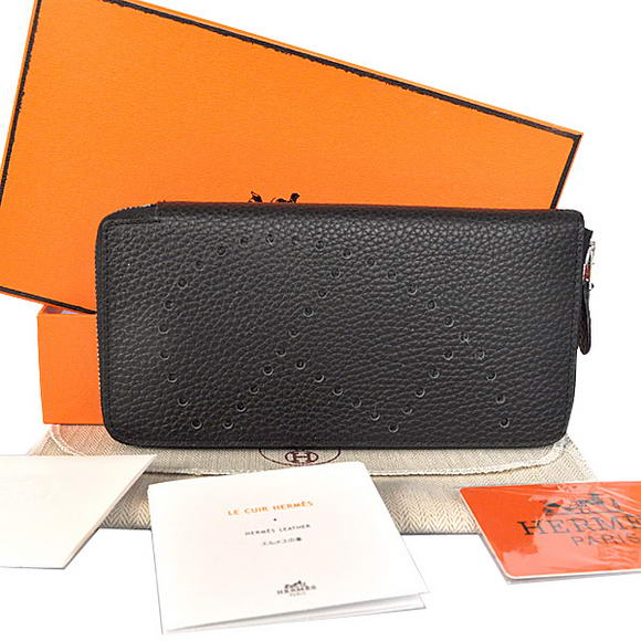 1:1 Quality Hermes Evelyn Long Wallet Zip Purse A808 Black Replica