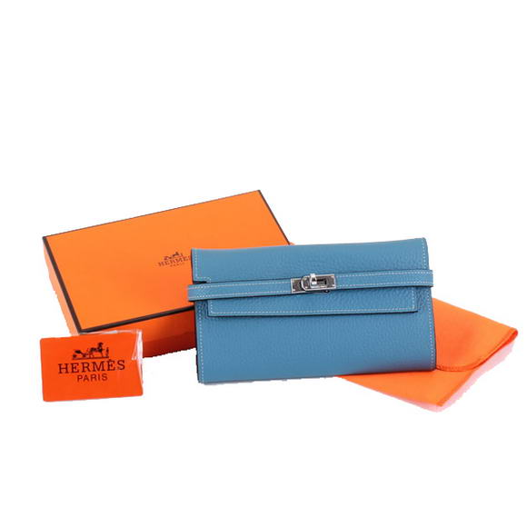 High Quality Hermes Kelly Bi-Fold Wallet A708 Blue Fake