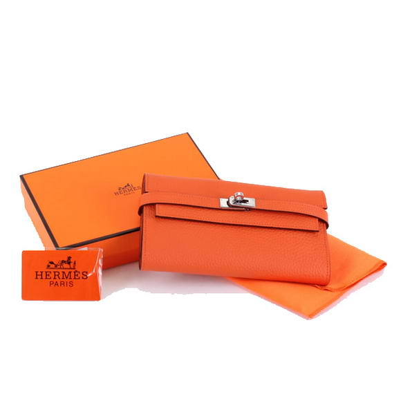 High Quality Hermes Kelly Bi-Fold Wallet A708 Orange Fake