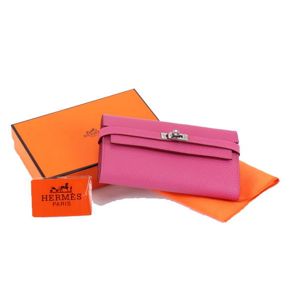 High Quality Hermes Kelly Bi-Fold Wallet A708 Roseo Fake