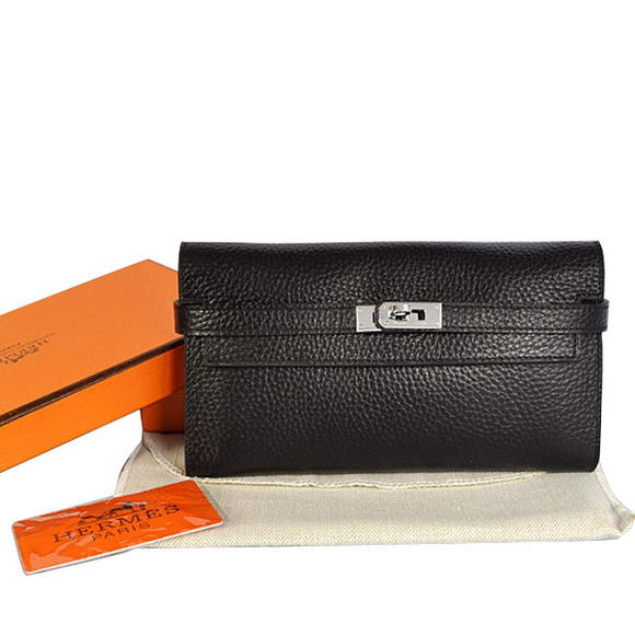 High Quality Hermes Kelly Wallet Togo Leather Bi-Fold Purse A708 Black Fake