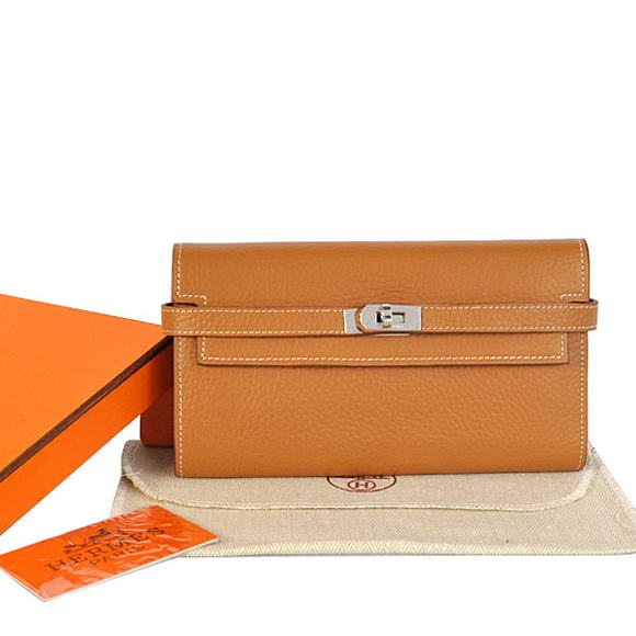 High Quality Hermes Kelly Wallet Togo Leather Bi-Fold Purse A708 Camel Fake