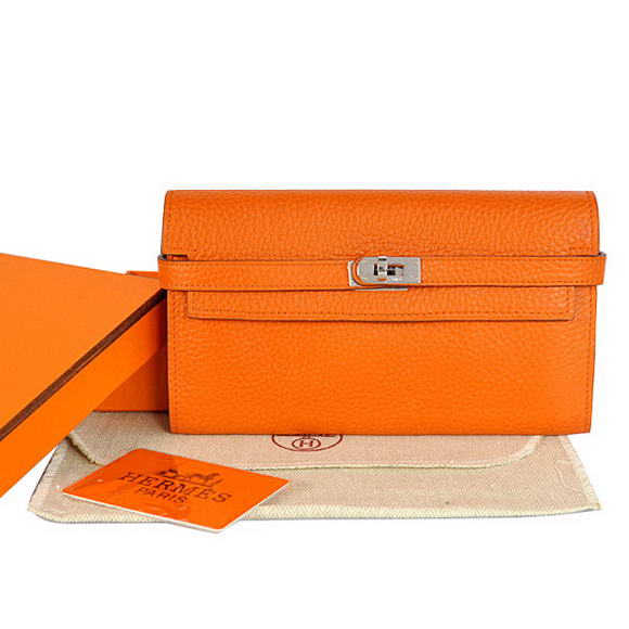 High Quality Hermes Kelly Wallet Togo Leather Bi-Fold Purse A708 Orange Fake