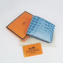 Cheap Replica Hermes Light-Blue Crocodile Veins Bi-Fold Wallet H014