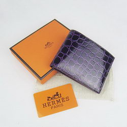 Cheap Replica Hermes Purple Crocodile Veins Bi-Fold Wallet H014