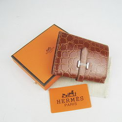 Cheap Replica Hermes Brown Crocodile Veins Wallet H006