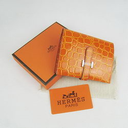 Cheap Replica Hermes Orange Crocodile Veins Wallet H006