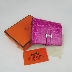 Cheap Replica Hermes Pink Crocodile Veins Wallet H006