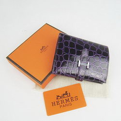 Cheap Replica Hermes Purple Crocodile Veins Wallet H006