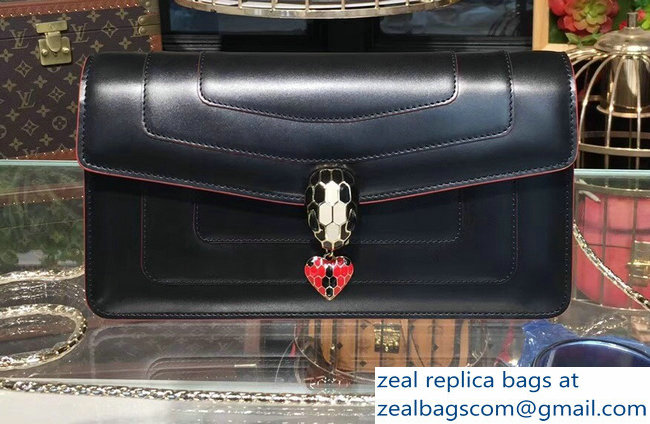 Bvlgari Love Heart Charm Serpenti Forever Flap Cover Shoulder Bag Black 2018_2803114727