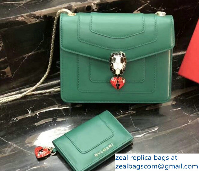Bvlgari Love Heart Charm Serpenti Forever Flap Cover Small Bag Green 2018_2803114730