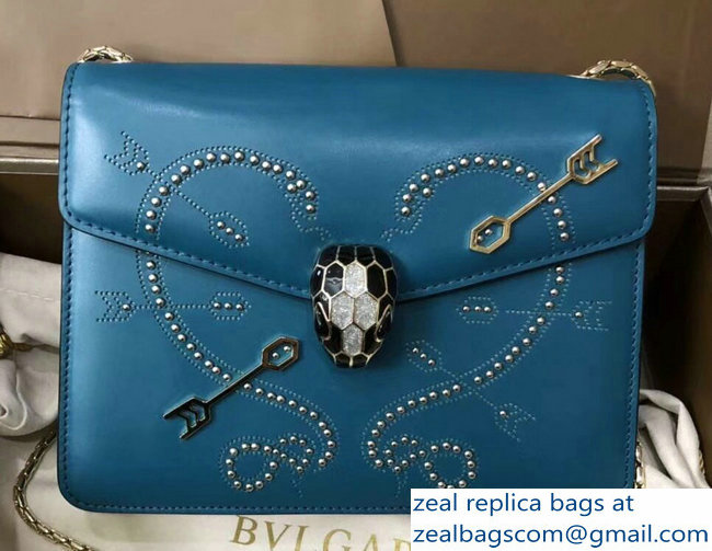 Bvlgari Pop Heart Serpenti Forever Flap Cover Small Bag Cyan 2018_2803114737