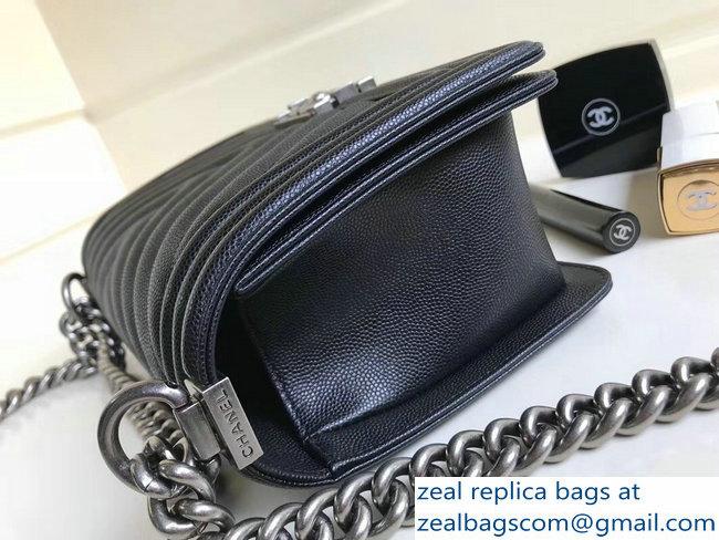 a958b0185955 Chanel Caviar Leather Chevron Boy Flap Old Medium Bag Black 2018 2803114787