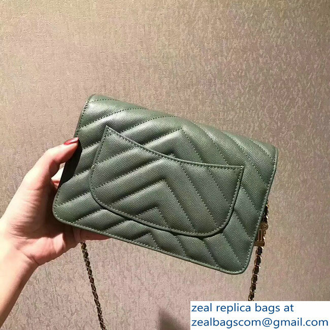 Chanel Caviar Leather Owl Charms Wallet On Chain WOC Bag A33814 army green Cruise 2018_2803114791