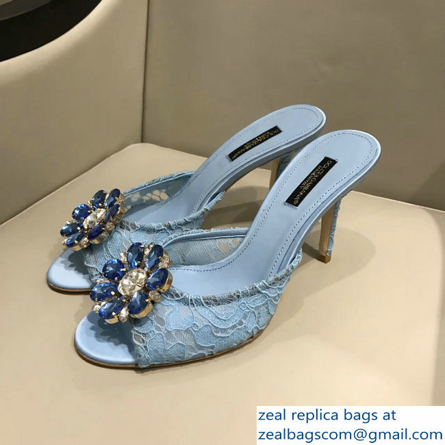 Dolce  &  Gabbana Heel 7cm Slippers Light Blue In Lace With Crystals 2018_2803114950