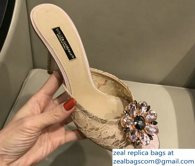 Dolce & Gabbana Heel 7cm Slippers Nude In Lace With Crystals 2018_2803114951