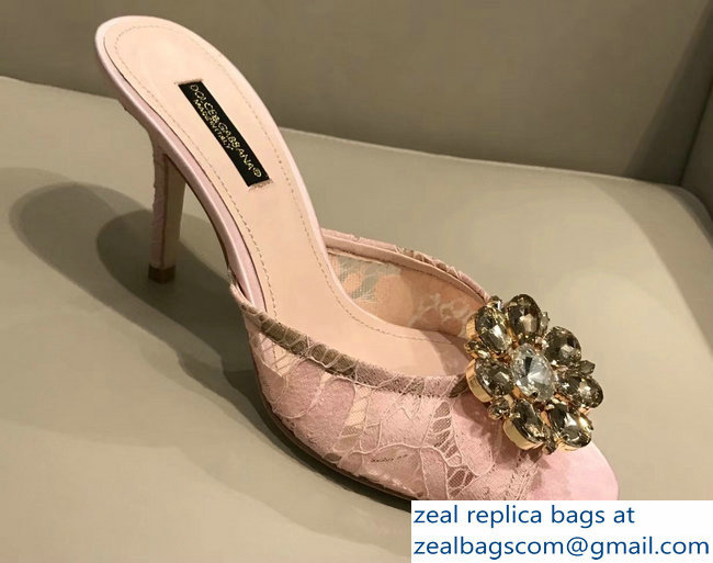 Dolce & Gabbana Heel 7cm Slippers Pink In Lace With Crystals 2018_2803114952