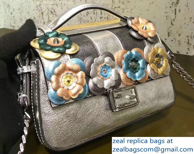 d4580104c8 Fendi Double Micro Baguette Shoulder Bag Flowerland Gold Silver  2018 2803115030