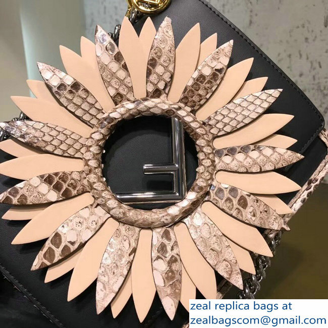 24ff60b227c9 Fendi Python Mini Kan I F Logo Bag Gerbera Flower Black 2018 2803115247