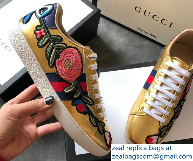 Gucci Ace Leather Low-Top Lovers Sneakers Web Embroidered Floral and Bow Gold 2018_2803115333