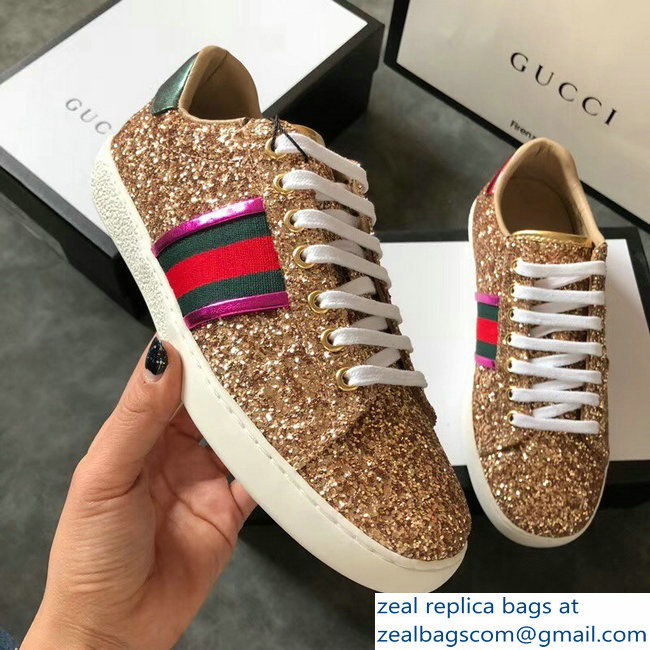 Gucci Web Ace Glitter Leather Low-Top Women s Sneakers 475213 Gold  2018 2803115441 588e9cb293