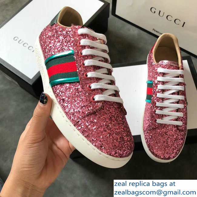 Gucci Web Ace Glitter Leather Low-Top Women s Sneakers 475213 Pink  2018 2803115442 d98b7498ef
