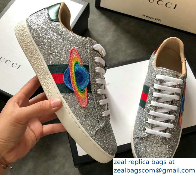 Gucci Web Ace Glitter Leather Low-Top Women's Sneakers 475213 Silver Planet 2018_2803115444