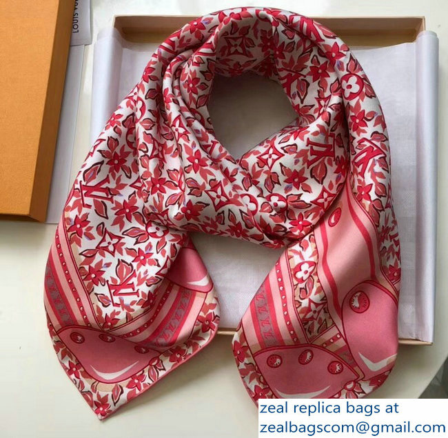 Louis Vuitton Flower Square Scarf Pink 2018_2803115508