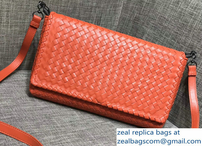 Bottega Veneta Lambskin Nero Intrecciato Clutch Cross-Body Bag 428136 Orange 2018