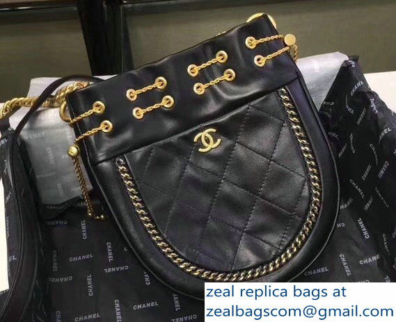 b67d80b11444 Chanel Chain Drawstring Bucket Bag Black 2018   www.zealbag.ru