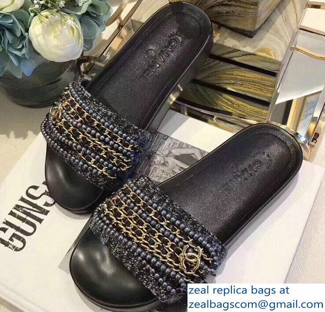 aa9385db2b16 Chanel Chain Mules Slipper Sandals Pearl Tweed Gold 2018   www ...