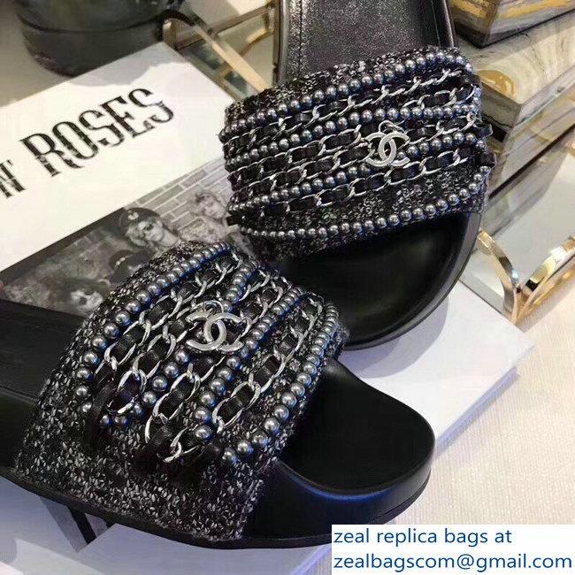 b7a7b9af9e60 Chanel Chain Mules Slipper Sandals Pearl Tweed Silver 2018   www ...