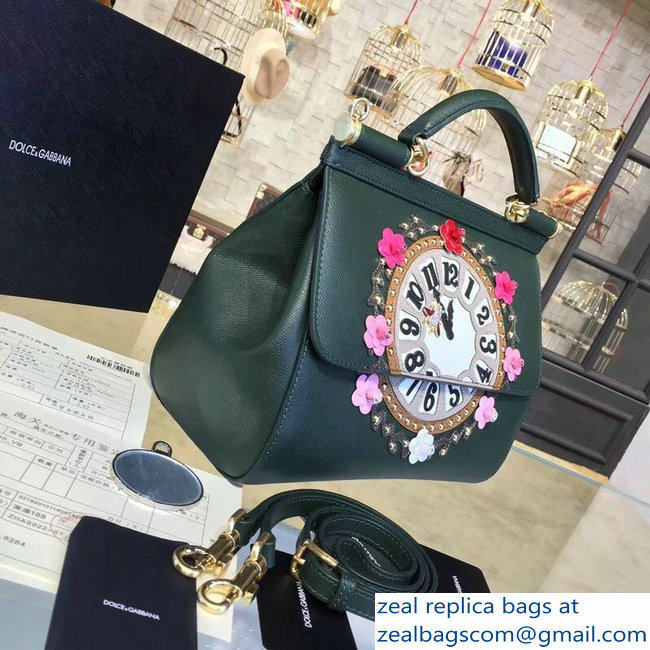 c973ff2f1a Dolce   Gabbana Sicily Top Handle Bag Clock Dark Green 2018   www ...
