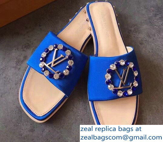 Louis Vuitton Strass-Paved LV Circle Madeleine Satin Mule Sandals Blue 2018