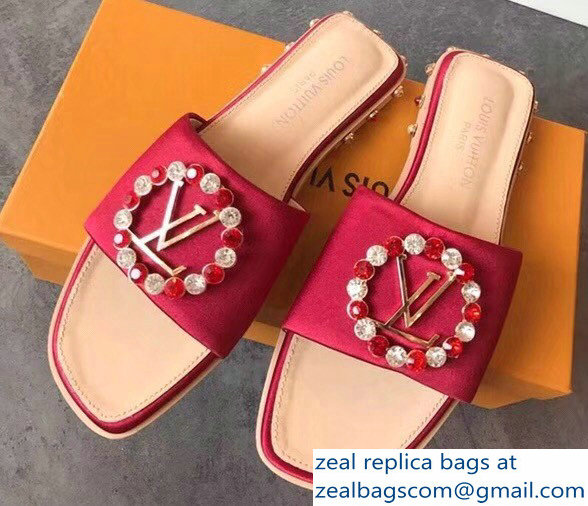Louis Vuitton Strass-Paved LV Circle Madeleine Satin Mule Sandals Red 2018