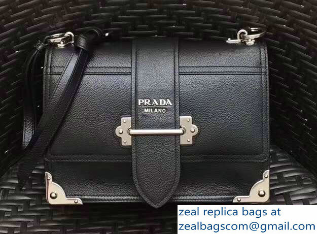 29e21e9655ea Prada Cahier Leather Shoulder Bag 1BD095 Black Silver 2018