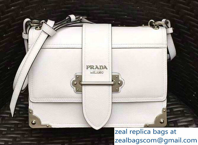 Prada Cahier Leather Shoulder Bag 1BD095 White 2018