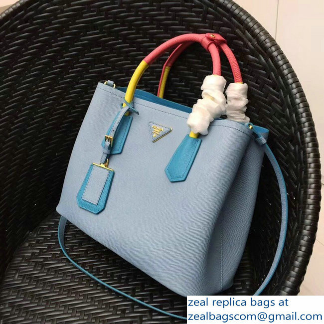 larger image. Prada Two-Tone Handles Saffiano Double Leather Bag 1BG775  Baby Blue Turquoise Yellow 6386e769dda7e