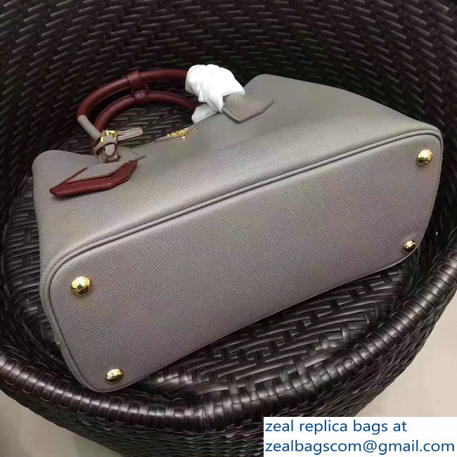 5ceb780d1add larger image. Prada Two-Tone Handles Saffiano Double Leather Bag 1BG775  Gray Burgundy 2018 larger image