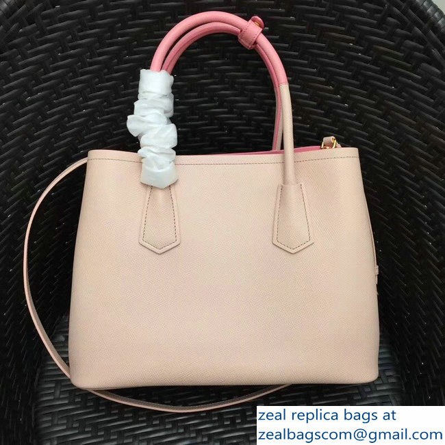 Prada Two-Tone Handles Saffiano Double Leather Bag 1BG775 Nude Pink 2018 f663a2879fe29