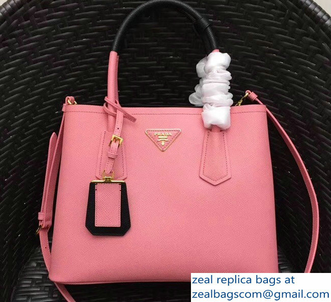 Prada Two-Tone Handles Saffiano Double Leather Bag 1BG775 Pink Black 2018 5053087d4deab