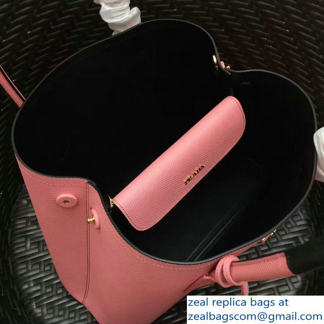 larger image. Prada Two-Tone Handles Saffiano Double Leather Bag 1BG775  Pink Black 2018 larger image fab72be591471
