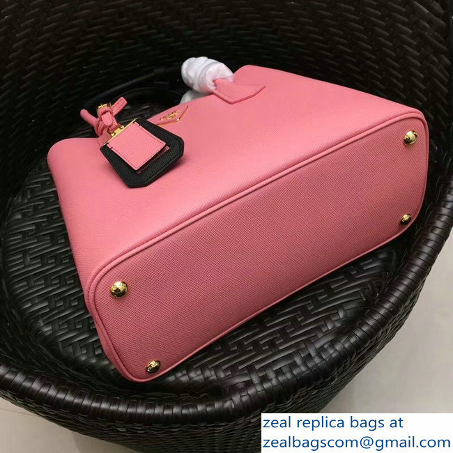 f0bc402c9a67 larger image. Prada Two-Tone Handles Saffiano Double Leather Bag 1BG775 Pink  Black 2018 larger image